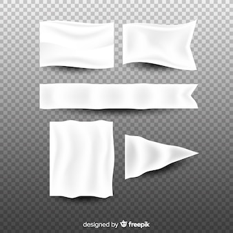 Colección de banners blancos de tela