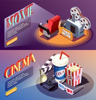 Colección de banners de cine 3d