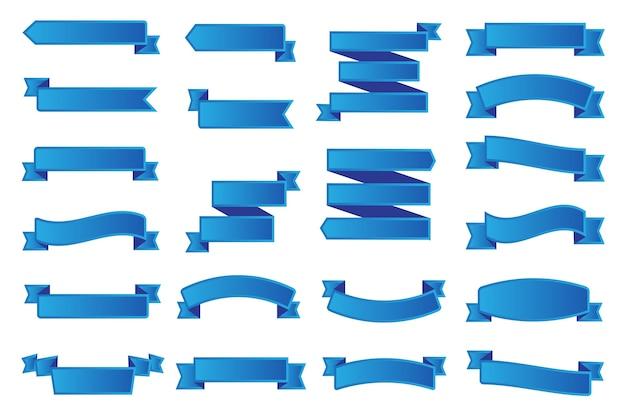 Colección de banners de cinta azul