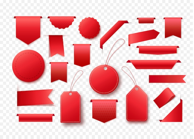 Colección de banners de cinta roja en blanco. etiquetas y etiquetas para cualquier diseño de promoción.