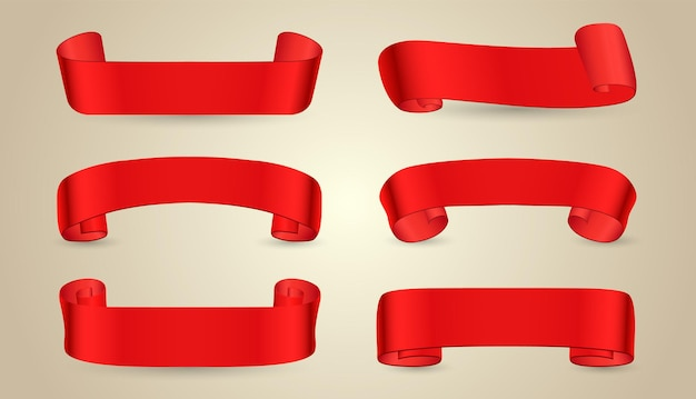 Colección de banners de cinta roja