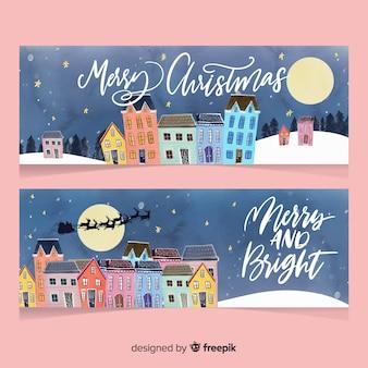 Colección de banners con ciudad navideña en acuarela