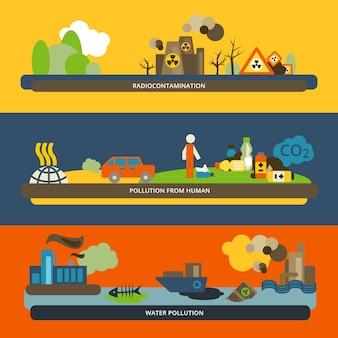 Colección de banners de contaminación