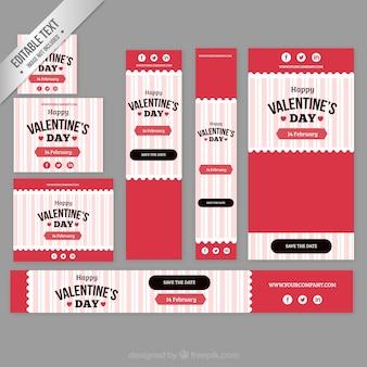 Colección de banners de copas de vino del día de valentín