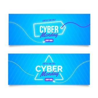 Colección de banners de cyber monday de diseño plano