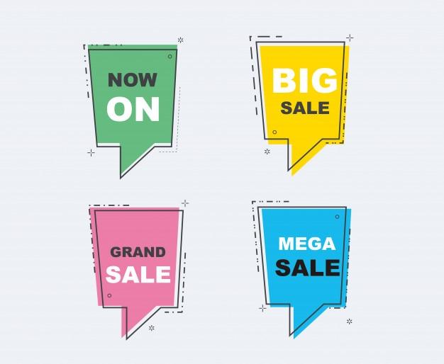 Colección de banners de descuento de venta. color completo diseño plano.