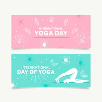 Colección de banners del día internacional del yoga
