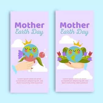 Colección de banners del día de la madre tierra dibujados a mano