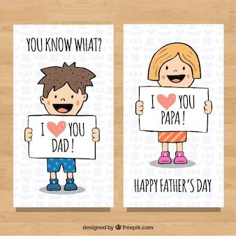 Colección de banners de día del padre con lindos niños en estilo hecho a mano