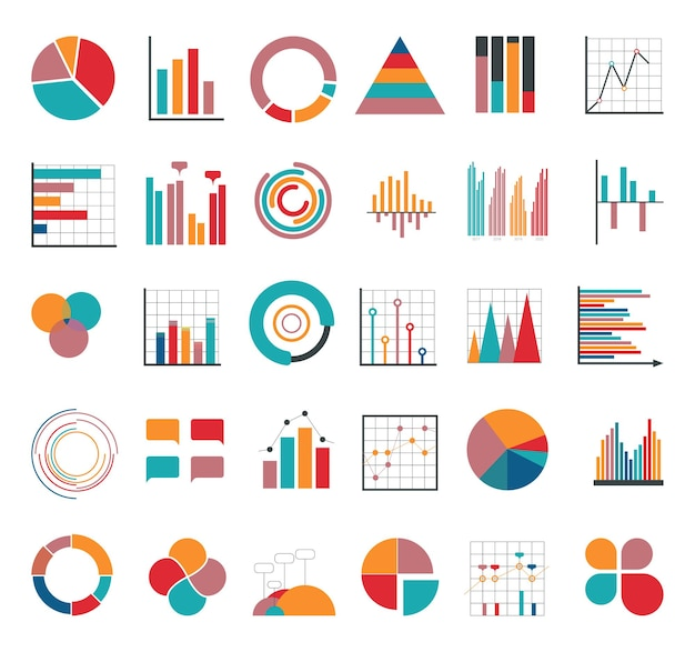 Colección de banners, diagramas, esquemas y gráficos infográficos.