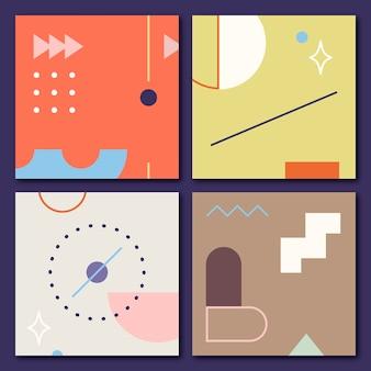 Colección de banners con estampados geométricos.