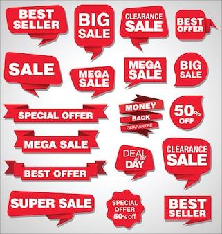 Colección de banners y etiquetas de promoción y descuento de venta.