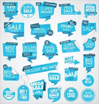 Colección de banners y etiquetas de venta moderna