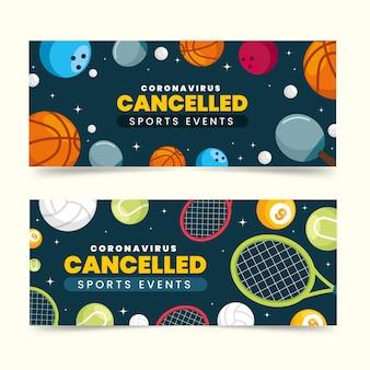 Colección de banners de eventos deportivos cancelados
