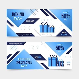 Colección de banners de eventos del día del boxeo horizontal