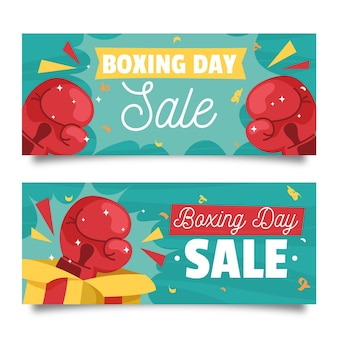 Colección de banners de eventos del día del boxeo.