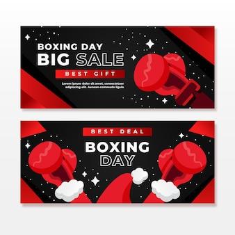 Colección de banners de eventos del día del boxeo