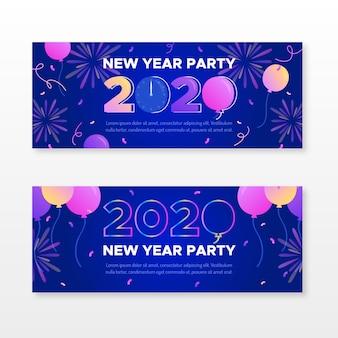 Colección de banners de fiesta de año nuevo 2020 de diseño plano