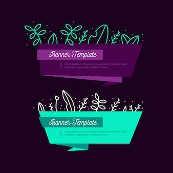 Colección de banners florales de origami
