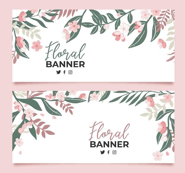 Colección de banners florales en plano.