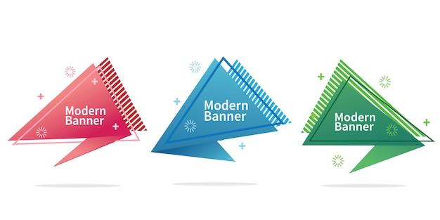 Colección de banners de forma geométrica abstracta