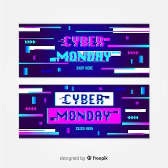 Colección de banners de glitch cyber monday