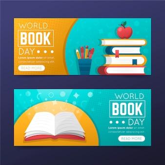 Colección de banners horizontales del día mundial del libro degradado