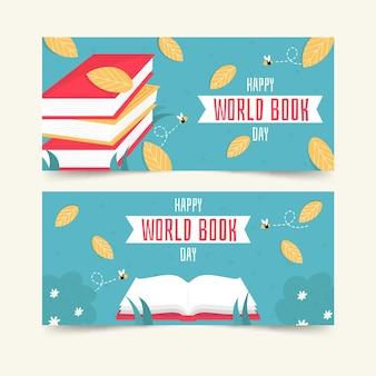 Colección de banners horizontales del día mundial del libro