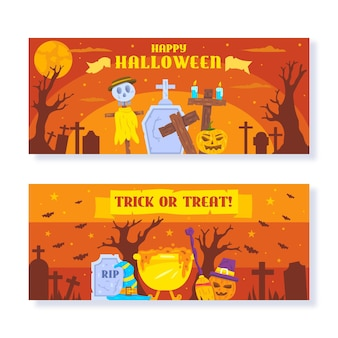 Colección de banners horizontales de halloween