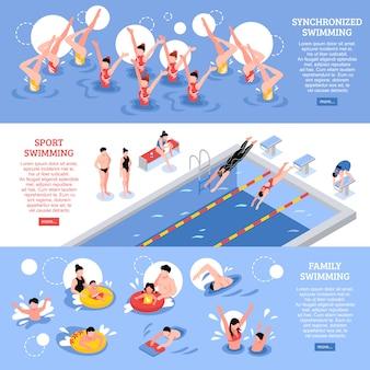 Colección de banners horizontales de natación