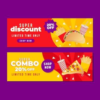 Colección de banners horizontales para ofertas combinadas