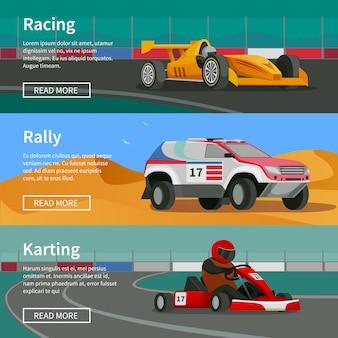 Colección de banners horizontales racing