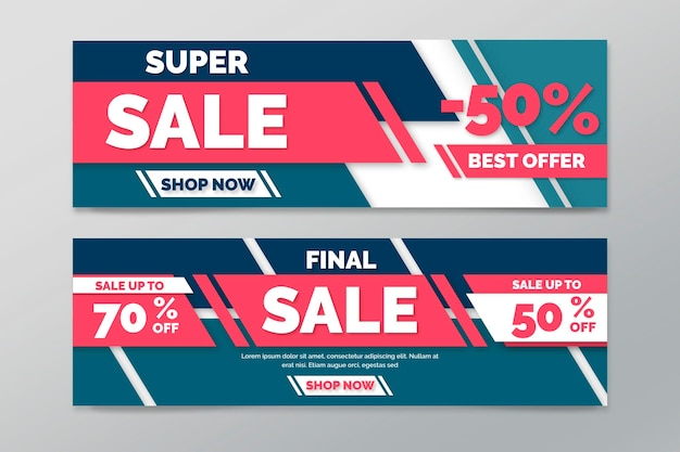 Colección de banners horizontales a la venta con líneas geométricas.