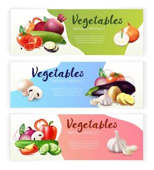 Colección de banners horizontales de verduras realistas con tres composiciones de frutas maduras y rodajas con texto editable