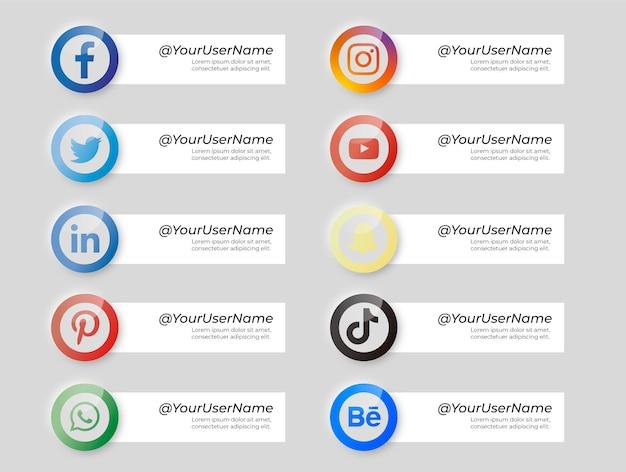 Colección de banners con iconos de redes sociales estilo neumorphic