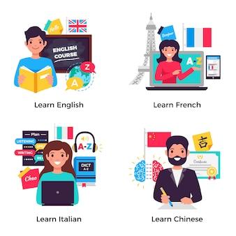 Colección de banners de idiomas de aprendizaje