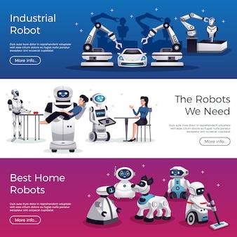 Colección de banners de investigación de robots industriales