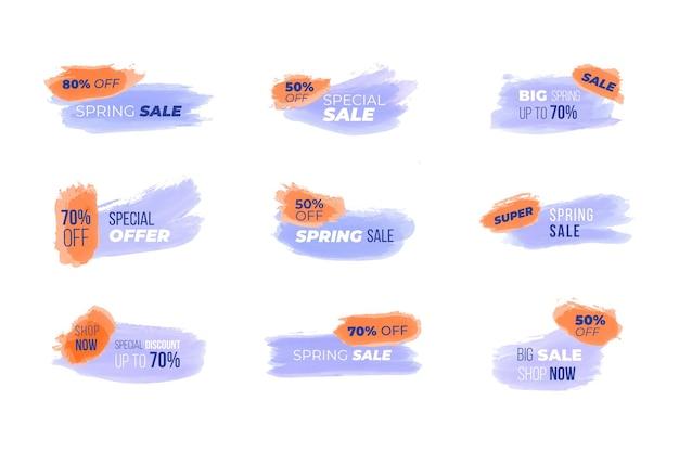 Colección de banners de líneas de acuarela para la venta.