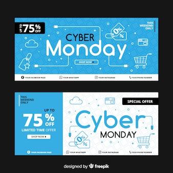Colección de banners de lunes cibernético de diseño plano