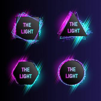 Colección de banners de luz moderna con 4 formas abstractas.