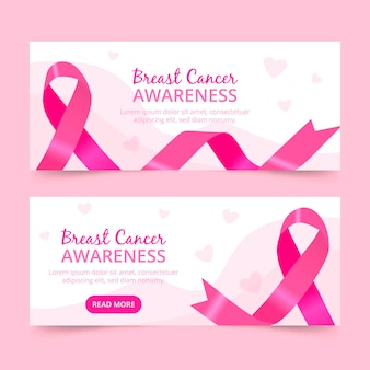Colección de banners del mes de concientización sobre el cáncer de mama