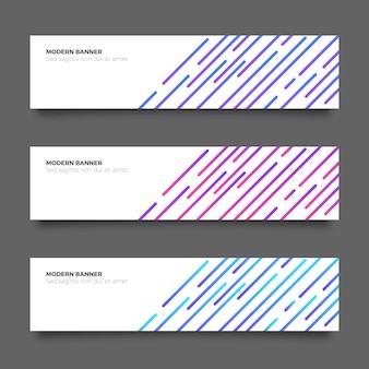 Colección de banners modernos abstractos con líneas
