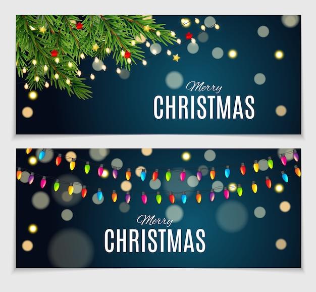 Colección de banners de navidad de belleza abstracta
