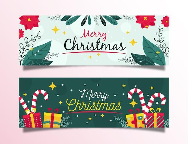 Colección de banners navideños en diseño plano