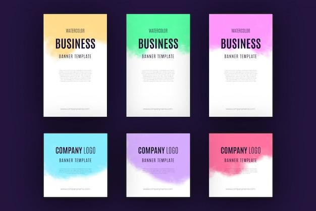 Colección de banners de negocios de acuarela