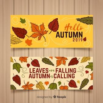 Colección de banners de otoño dibujados a mano
