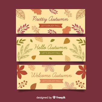 Colección de banners de otoño estilo plano.