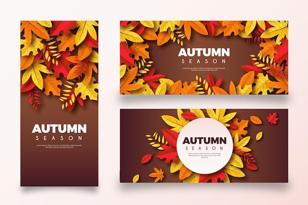 Colección de banners de otoño realistas.