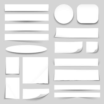 Colección de banners de papel en blanco blanco