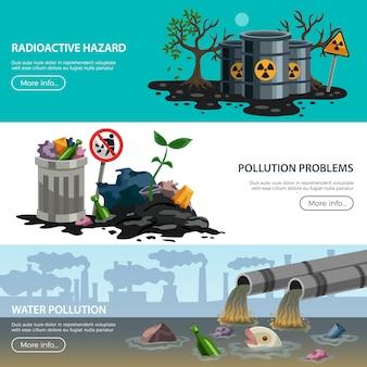 Colección de banners de problemas ecológicos